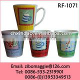 2016 Popular V Shape Good Quality Promotion Ceramic Milk Cup Printing Coffee Design for Daily Use