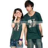 Cotton /Spandex T-shirt for lovers,organic cotton couples' T-shirt wholesale