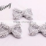 21x28MM Silver Color Custom Color Accept Retail Sale High Quality Resin Rhinestone Bows Beads for Necklace Jewelry