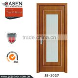 New modern design teak wood door design with tempered glass used interior doors for sale in guangzhou