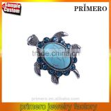 New hot Tibetan silver Blue turquoise gem rhinestone Crystal Tortoise finger Ring jewelry Wholesale