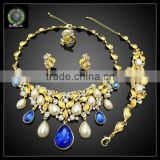 Wholesale blue color gold plated jewelry set EHK564
