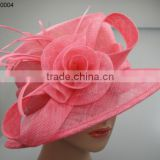 red sinamay wedding hats with feather and rose decoration