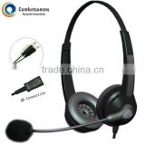 High quality binaural call center headset for PC with double 3.5mm plug HSM-902NPQDJ3.5D