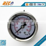Well quality liquid filled air pressure gauge with back connector