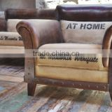 VINTAGE INDIAN FURNITURE , VINTAGE LEATHER SOFA