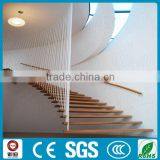 curve stainless steel with wood staircase for indoor decoration