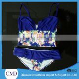 Novelties V Crop Print Sexy Ladies Tankini