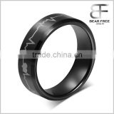 Black Tungsten Carbide Engagement Wedding Bands Engraved Forever Love Heartbeat Promise Rings