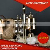 Gold royal balancing siphon coffee maker, classical elegant coffee maker ,belgium coffee maker