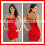 2012 New Arrival Sexy One-shoulder Red Chiffon Beaded Homecoming Dress Short Prom Dresses PG-115