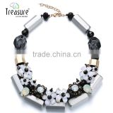 Crystal flower choker necklace handmade crystal bib necklace bead chokers necklaces women 2015 black white series collier