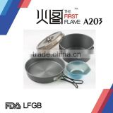 Hard anodized Aluminium camping cookware LFGB FDA with stainless steel handle A203