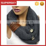 A-41 knitting circle neck warmers women button infinity scarves fashion knit button scarf