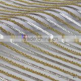 Sliver and Gold 5mm Sequin Polyester Mesh Wholesale Sequin Fabric For Garments Wedding And Party