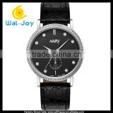WJ-5441 Nary leather band stainless steel back waterproof high quality with diamonds unisex couple watch