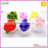 different color mesh rose flower with green leaf bath mitten sponge