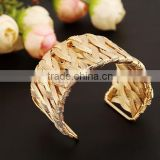 New Open Super Wide Cuff Bangle Bracelet Fashion Jewelry Gold Tone