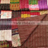 New designs beautiful summer colors vintage patola silk sari patchwork quilt bed cover throw
