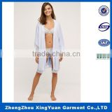 Custom Made Branded Sexy Girls long Sleeve knitting fabric Night Robes Decorate With Lace