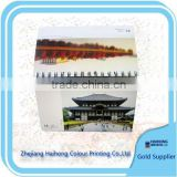 Table calendar with beautiful construct pictures OEM factory printing service with competitive price