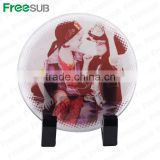Logo printing L100*H100*W4mm round coaster sublimation toughened blank glass photo coaster