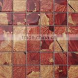JY-G-49 Red leaf pattern Laminated glass mosaic square wall tiles decorate Restaurant wall art