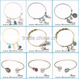 Summer Trendy Jewelry Expandable Wire Bangle Bracelet, Blue Crystal Snap Button Jewelry Bracelet