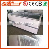 600L Single temperature horizontal top glass display chest freezer