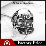 2016 engrave vintage punk skull head Antique silver 316L stainless steel ring band for men