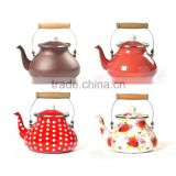 High Quality Flower Decoration Decal Printing Tea Kettle Enamel Water Kettle With Wooden Handle