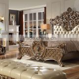 Luxury French Rococo Hand Carving Wooden Bedroom Set/Royal Palace King Size Bed(MOQ=1 SET)