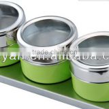 stainless stell spice jar set with powder spraying,metal spice jar set condiment set,set of 3 pepper container,