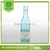 Spray blue bottle & candy color vase body is long with bud silk cloth