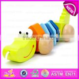 Handmade Wooden animal crocodile pull toy,Wooden Baby Push and Pull crocodile toy W05B105