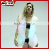 Wholesale custom fashion sparking rainbow glow waistcoats LED light up fluffy women faux fur vest