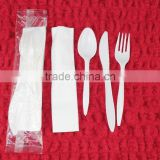 disposable plastic cutlery set knife/fork/spoon with napkin for restaurant