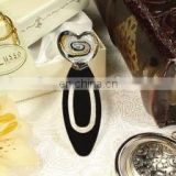 Murano bookmark heart black white gold