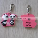 Cute kissing panda design pvc zipper puller head for valentine's day