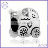925 sterling silver Stroller Heart Baby Car bead for European charms bracelet