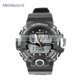 2015 MIDDLELAND Wholesale China manufactured pu plastic strap hand big face cheap sport men fashion watch