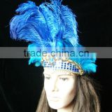 Carnival Headdress (blue Color)Female Headdress With Long Feather