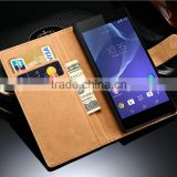 Two-layer Genuine Leather Cards slot and Money wallet phone case,Super Slim Design for Sony Z5