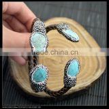 LFD-B0015 Wholesale Turquoise Stone Pave Rhinestone Leather Bangles Bracelet Jewelry Finding