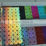 2016 fashion designs for handbags laser reflective pu artificial leather for making bags