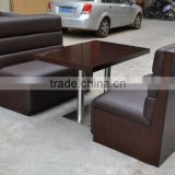 Hot sale leather cover booth sofa and restaurant table set XYN20