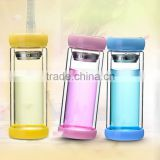 hot protected cheap price double wall glass tea infusion bottle
