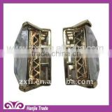 Fancy Color Square Rhinestone with Alloy Base Button for Garments