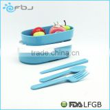 School Blue/White Kids Bento Take Away Lunch Box With Fork Spoon and Chopsticks