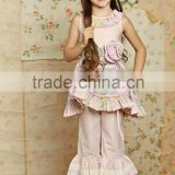 new arrival hot sale summer fashion pure pink ruffle princess baby girl boutique clothing sets